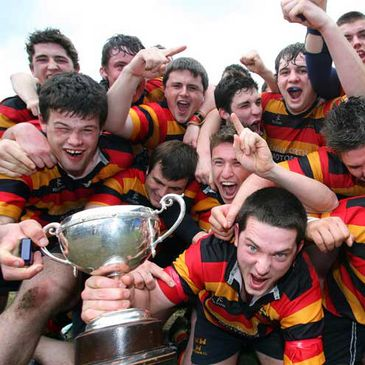 Lansdowne players celebrate their McCorry Cup final win