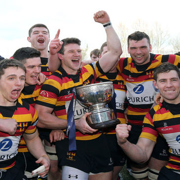 Lansdowne celebrate winning the Ulster Bank League title