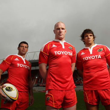 Munster's Denis Leamy, Paul O'Connell and Donncha O'Callaghan