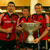Denis Leamy, Ronan O'Gara and man-of-the-match Denis Fpgarty keep the celebrations going afterwards in the dressing room