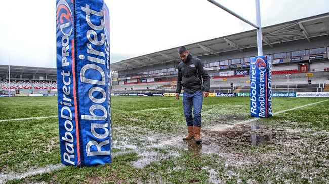 Referee Leighton Hodges checks the Ravenhill pitch