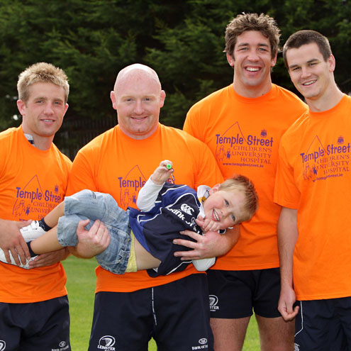 The Leinster players pose with four-year-old Jack Dawson