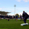 A general view of the scene at the RDS as the Leinster players tune up for Saturday's all-Ireland clash