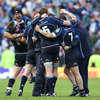 The Leinster forwards gather together as they congratulate each other on a job well done