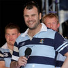 Leinster coach Michael Cheika smiles as he is interviewed at the RDS homecoming event