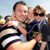 Leinster prop Cian Healy scrums down with his cousins Rebecca and Ed Brennan
