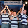 Shane Horgan, Fergus McFadden and Cian Healy salute the RDS crowd at the homecoming event