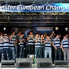 The Leinster players applaud the many fans present at the RDS, thanking them for their support