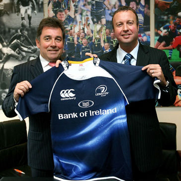 Leinster Rugby's Mick Dawson with Chris Stephenson of Canterbury