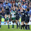 Rob Kearney gets airborne as Leinster kick off the post-match celebrations in some style