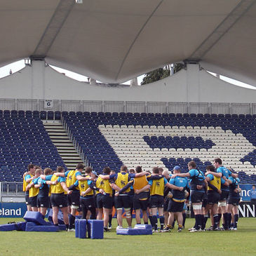 The Leinster players huddle together at the RDS