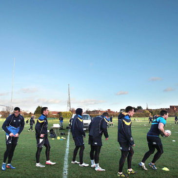 The Leinster players training at UCD