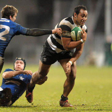 Number 8 Leo Auva'a powers forward for Old Belvedere