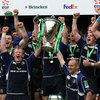 The moment they have waited for: Chris Whitaker accepts the invitation to lift the Heineken Cup trophy aloft with Leinster captain Leo Cullen