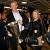 Leo Cullen, pictured with his fiancée Dairine Kennedy, became only the fourth player to captain two Heineken Cup winning teams