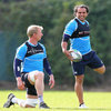 Leinster captain Leo Cullen and Isa Nacewa warm up together before the squad session at UCD on Monday