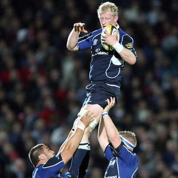 Leinster captain Leo Cullen wins a lineout