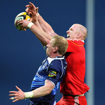 Leo Cullen and Paul O'Connell compete for a lineout ball