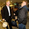 Joe Stack from RTÉ Television got the thoughts of Leo Cullen as he led the Leinster players through the arrivals hall