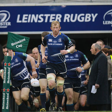 Leo Cullen leads the Leinster team out at the Aviva Stadium