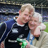 A proud Frank Cullen gets a hug from his son Leo, Leinster's Heineken Cup-winning captain