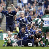 Leo Cullen raises his arms in triumph, knowing that Leinster have secured the title