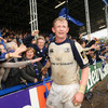 Leinster captain Leo Cullen celebrates with some members of the crowd after setting up a revenge mission against Munster