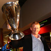 Leinster captain Leo Cullen had a prized possession on the flight back home - the Heineken Cup trophy