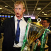 Victorious Leinster captain Leo Cullen touches down at Dublin Airport with the Heineken Cup trophy