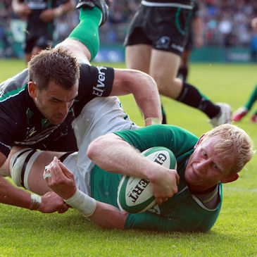 Ireland Select XV captain Leo Cullen touches down at Donnybrook