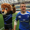 Leo the Lion and a bloodied Luke Fitzgerald celebrate Leinster's fourth win over French opposition this season - they beat Racing Metro (2) and Clermont Auvergne in the pool stages