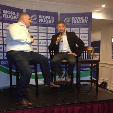 Les Kiss being interviewed at the IRB World Rugby Conference and Exhibition