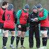 Ireland's attack coach Les Kiss passes on some instructions to the forwards, including team captain Jamie Heaslip
