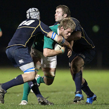 Ireland's Liam Og Murphy in action against the Scottish Club side
