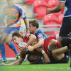 Scarlets full-back Liam Williams broke through for a try to help Simon Easterby's men on their way to a 14-6 half-time lead