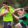 Lifeimi Mafi is tackled by the Kerry-born JJ Hanrahan, who is the youngest member of the Munster Academy at 18