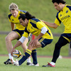 Jean de Villiers, Lifeimi Mafi and Doug Howlett take part in a training drill at UL