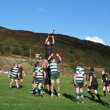 Lineout action from the Connemara v Greystones tie