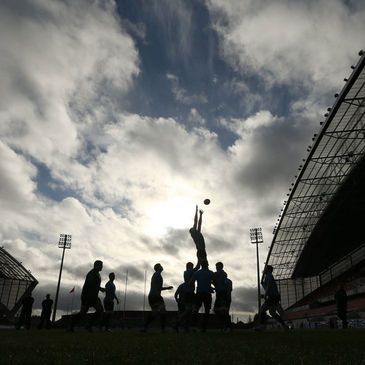 A lineout during the Captain's Run session at Thomond Park
