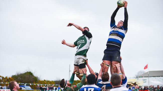 Lineout action for Wanderers' win over Kanturk