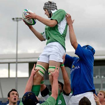 Patrick McGowan claims a lineout ball against Italy