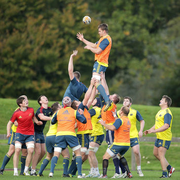The Munster forwards work on their lineouts