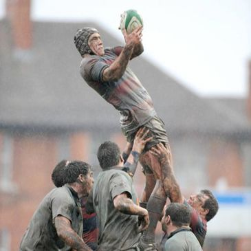 Lineout action from the Clontarf v UCD tie