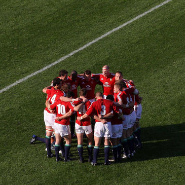 The Lions huddle together before the first Test