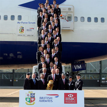 The Lions players and coaches prepare to board 'Air Force Scrum'