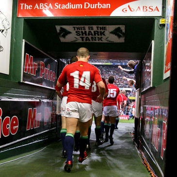 Shane Williams and the Lions walk out for the Sharks match