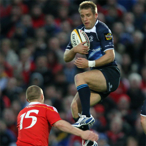 Leinster's Luke Fitzgerald collects a high ball