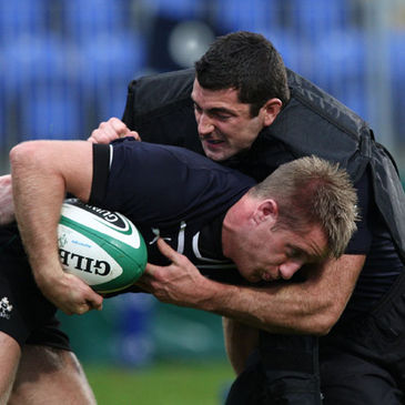 Luke Fitzgerald and Rob Kearney training with the Irish squad