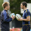 Two of Leinster's 2009 Lions, Luke Fitzgerald and Rob Kearney, are pictured deep in discussion at the RDS
