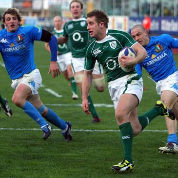 Ireland winger Luke Fitzgerald races over for his second try